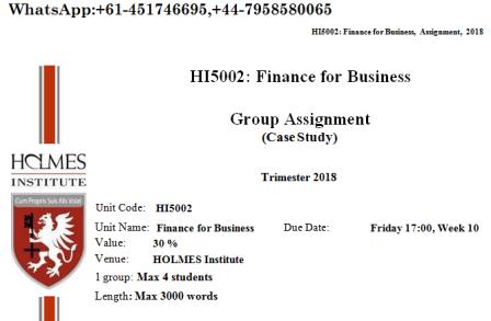 HI5002 Finance For Business