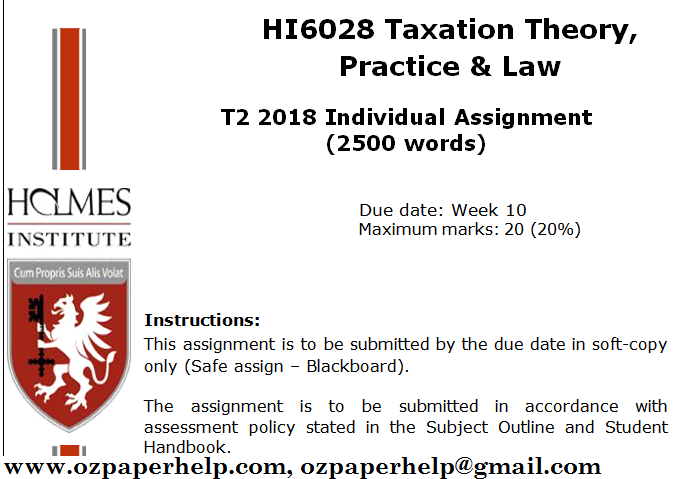 HI6028 Taxation Theory, Practice & Law