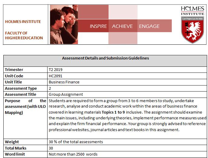 HC2091 Business Finance Group Assignment