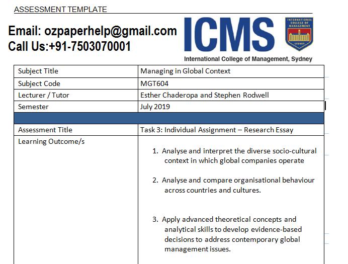 MGT604 Report Essay Assessment Instructions