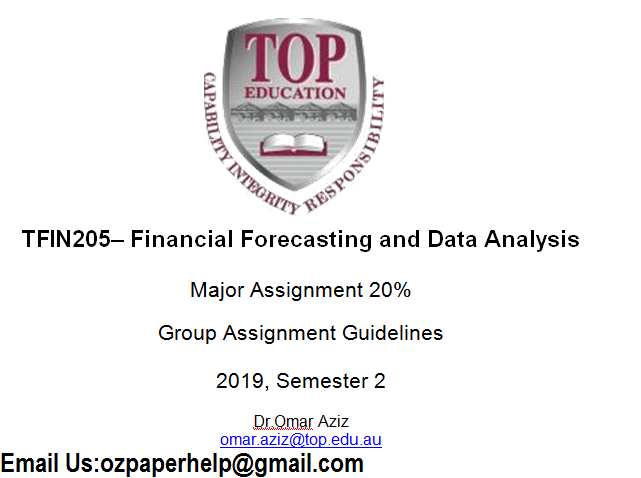 TFIN205 Financial Forecasting and Data Analysis