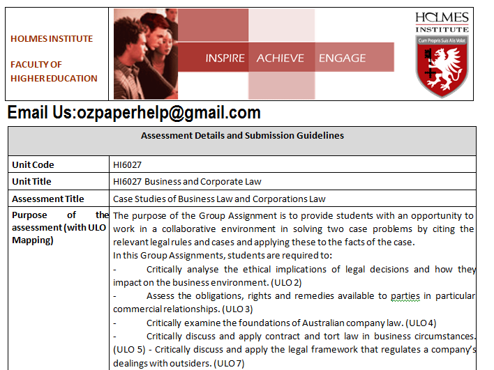 HI6027 Business and Corporate Law
