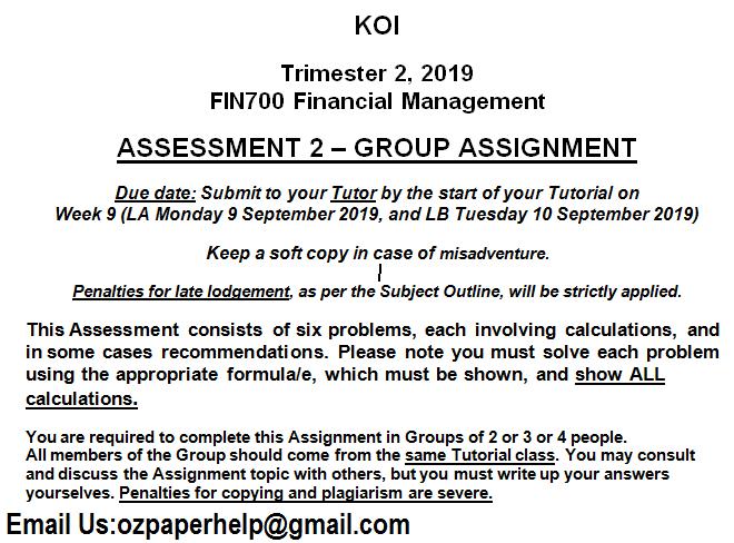 FIN700 Financial Management