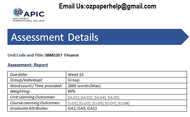 SBM3207 Finance
