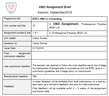 HND Assignment Professional Practice