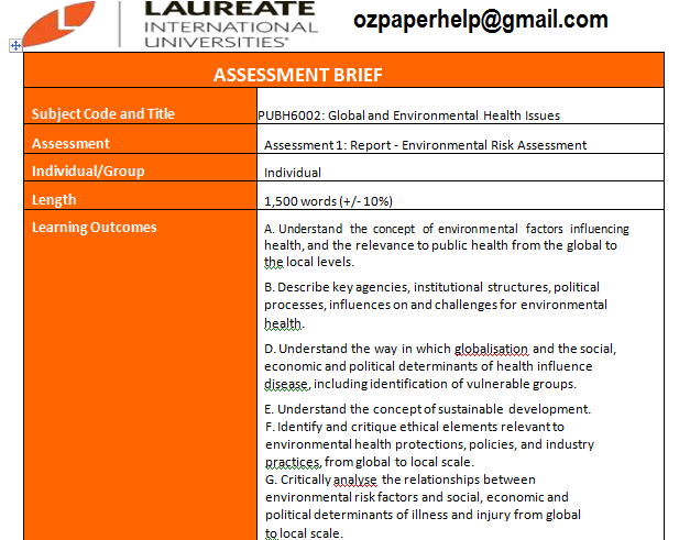 PUBH6002 Global and Environmental Health Issues