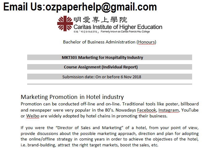 MKT303 Marketing for Hospitality Industry