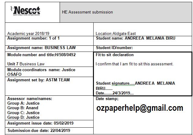 Unit 7 Business Law