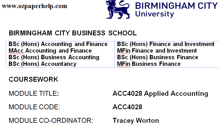 ACC4028 Applied Accounting