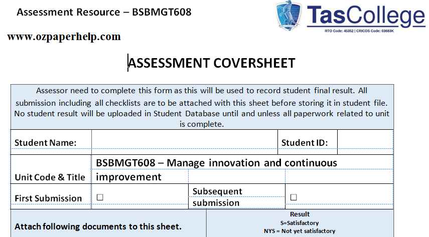 BSBMGT608 Manage innovation and continuous improvement