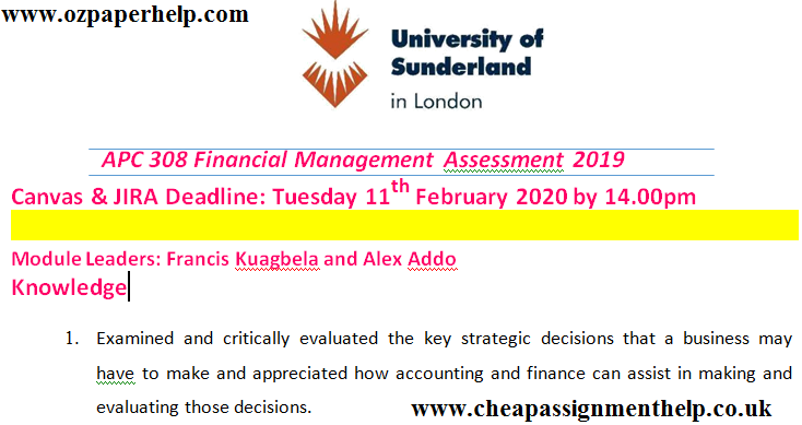 APC 308 Financial Management Assessment