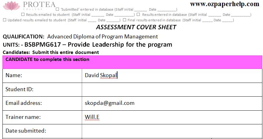 BSBPMG617 Provide Leadership for the program