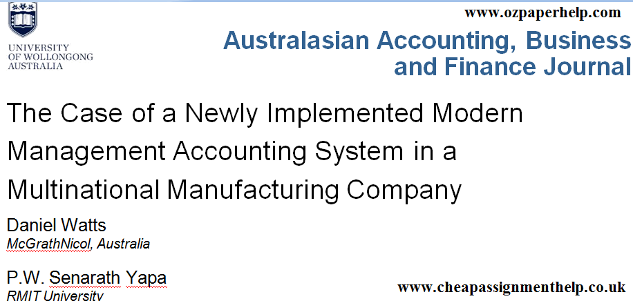 Australasian Accounting Business And Finance