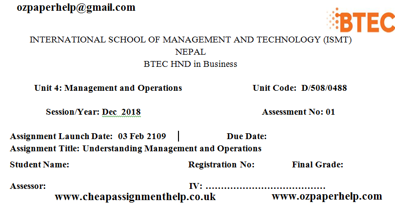 Unit 4 Management and Operations