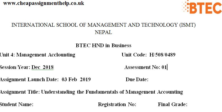 Unit 4 Management Acclounting
