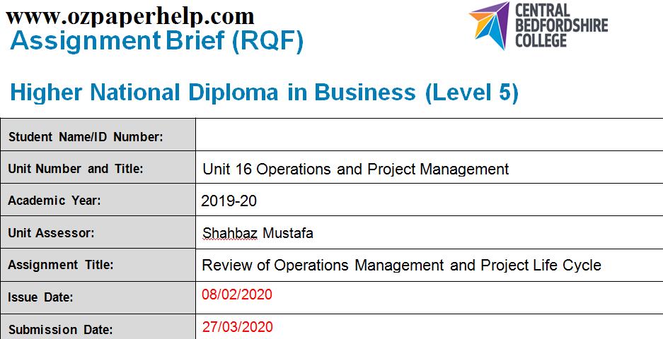 Unit 16 Operations and Project Management
