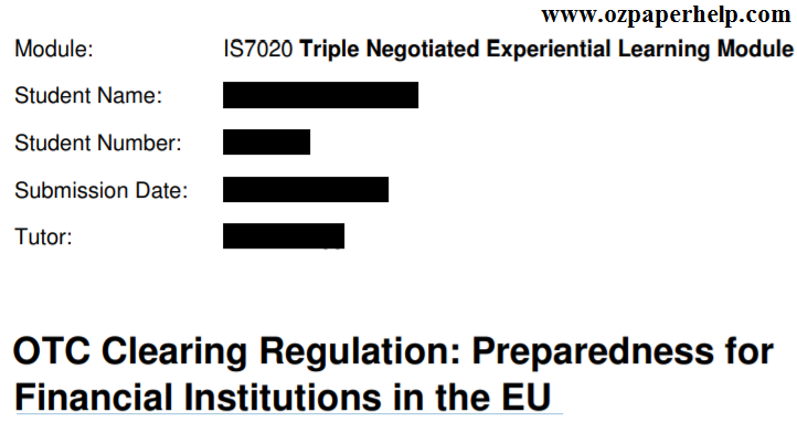IS7020 Triple Negotiated Experiential Learning
