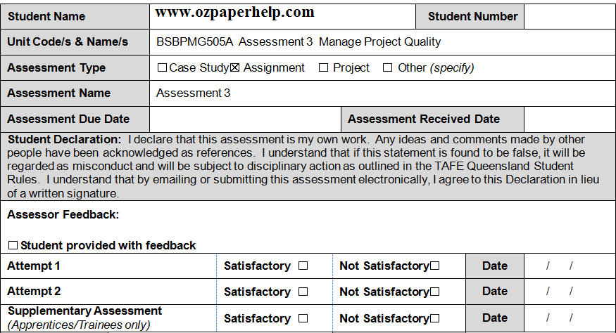 BSBPMG505A Assessment 3 Manage Project Quality