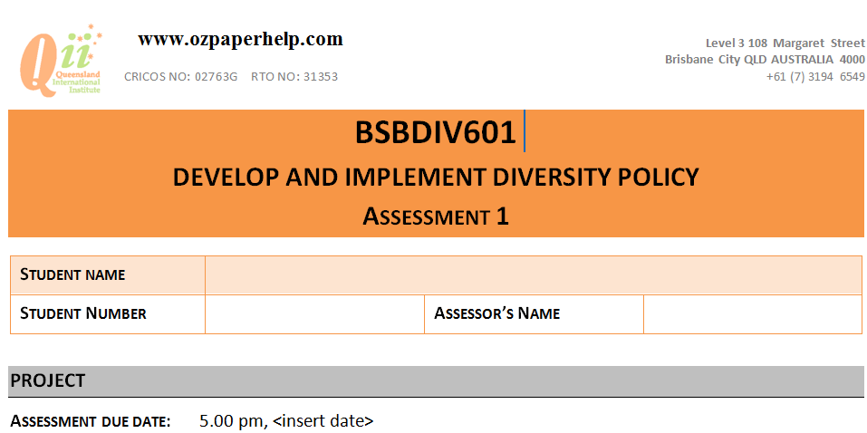 BSBDIV601 DEVELOP AND IMPLEMENT DIVERSITY POLICY