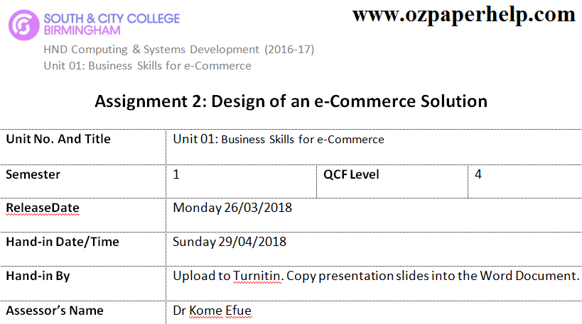 Assignment 2 Design of an e-Commerce Solution