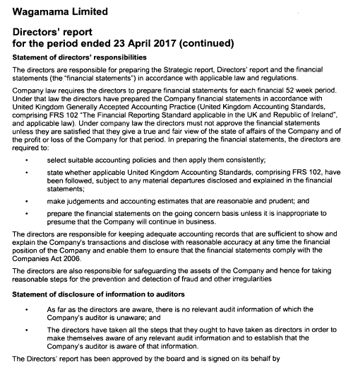Analysis of Wagamama financial statements