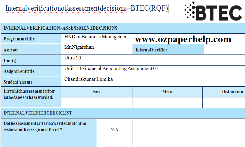 Unit-10 Financial Accounting Assignment