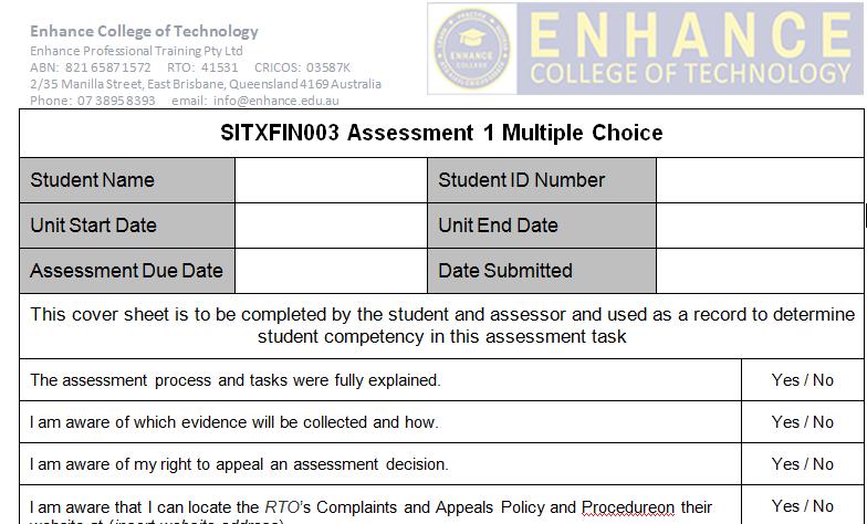 SITXFIN003 Assessment 1 Multiple Choice