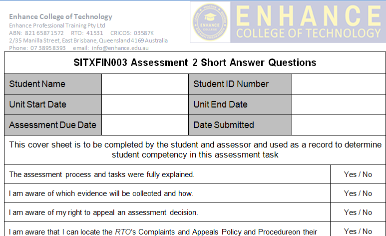 SITXFIN003 Assessment 2 Short Answer Questions