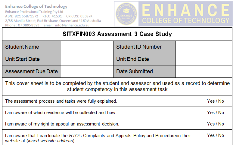 SITXFIN003 Assessment 3 Case Study