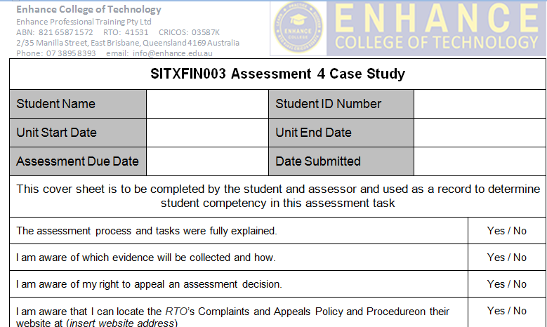 SITXFIN003 Assessment 4 Case Study