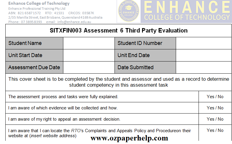 SITXFIN003 Assessment 6 Third Party Evaluation
