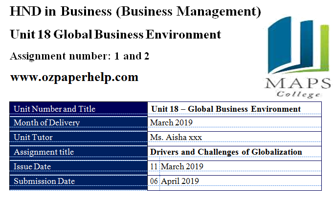 Unit 18 Global Business Environment
