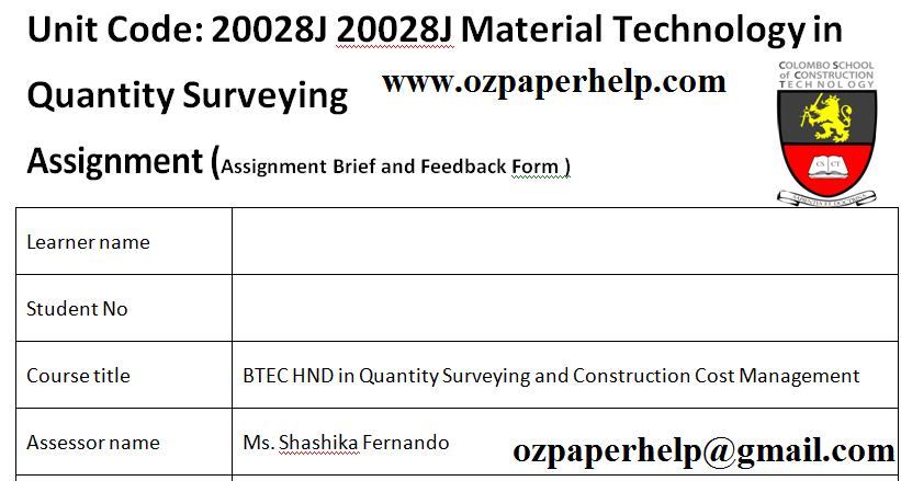 Unit 2 Materials Technology in Quantity Surveying