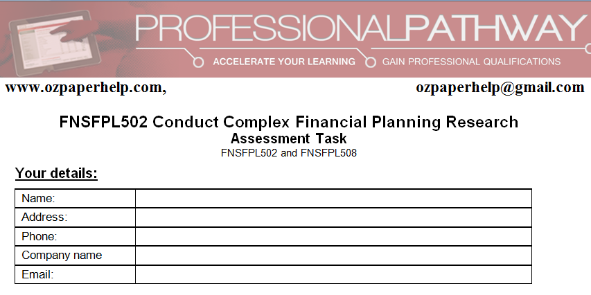 FNSFPL502 Conduct Complex Financial Planning Research