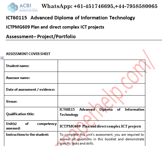 ICTPMG609 Plan And Direct Complex ICT Projects