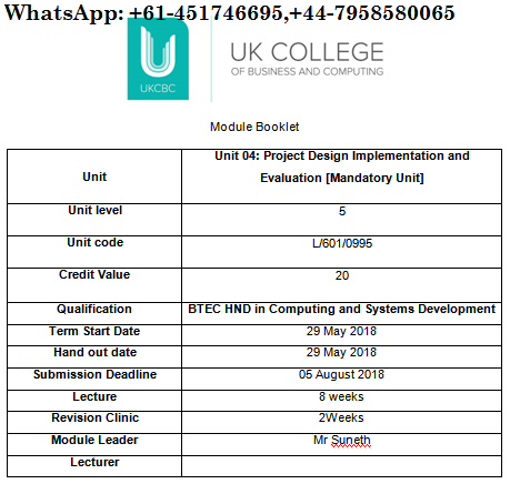 Unit 04 Project Design Implementation and Evaluation