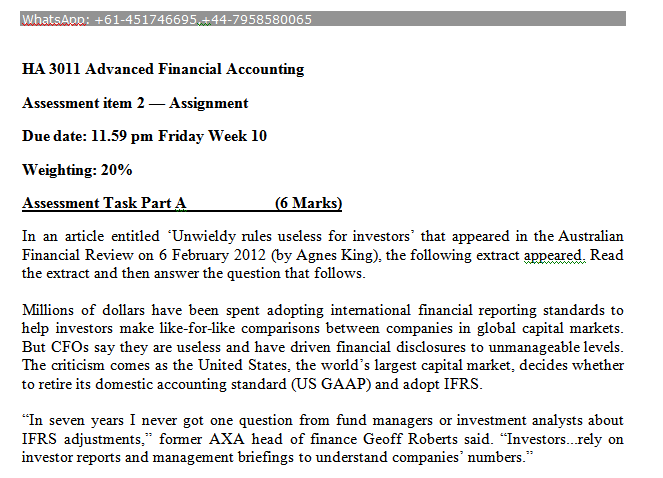 HA 3011 Advanced Financial Accounting