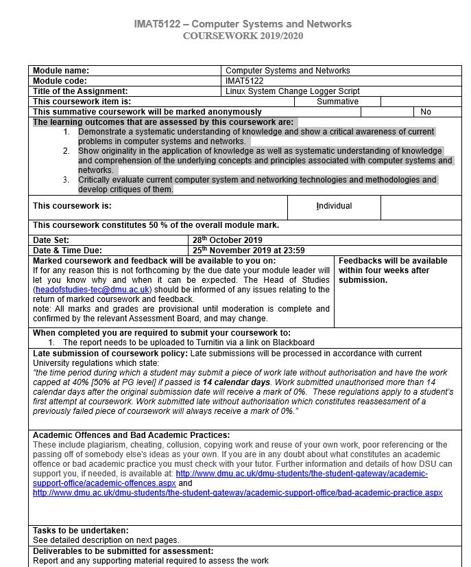 IMAT5122Computing Network Assignment Help