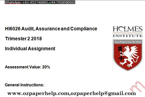 HI6026 Audit Assurance and Compliance