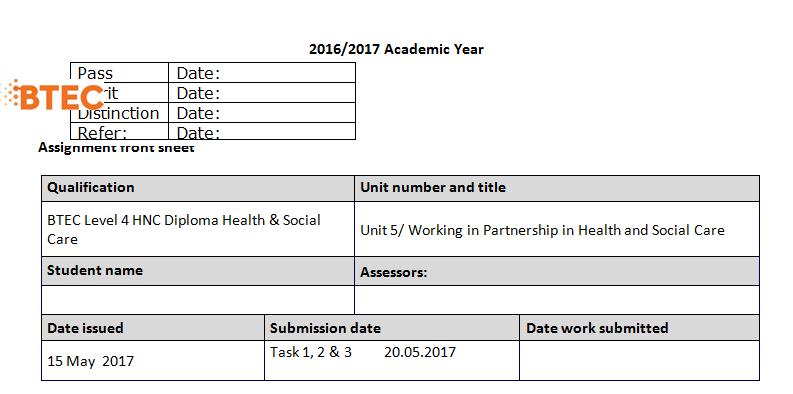 BTEC Level 4 Social Health Care Assignment