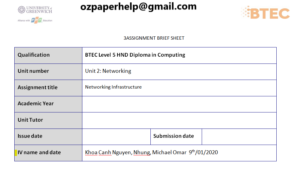 BTEC Networking Infrastructure Assignment