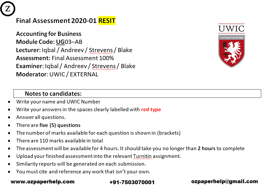UG03–AB Accounting for Business Assignment Help