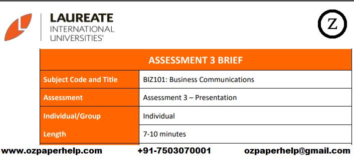 BIZ101 Business Communications Assignment help