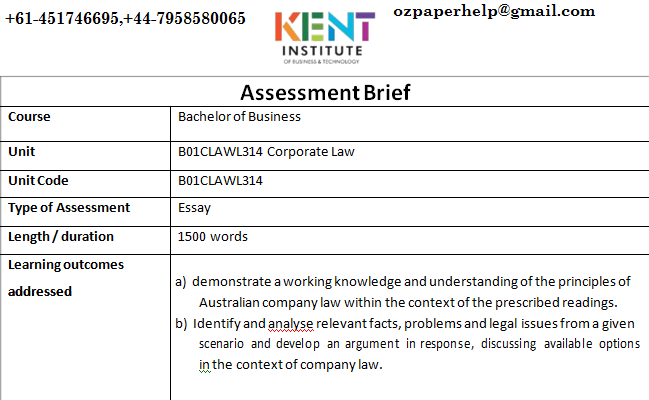 B01CLAWL314 Corporate Law