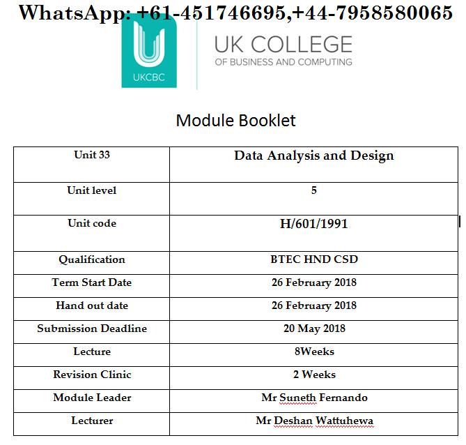 Unit 33 Data Analysis and Design