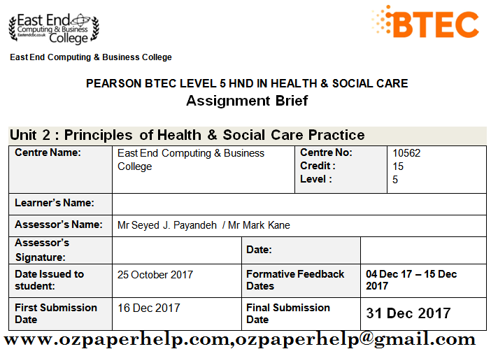 Unit 2 Principles of Health & Social Care Practice