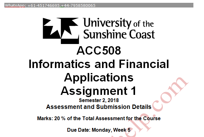 ACC508 Informatics and Financial Applications