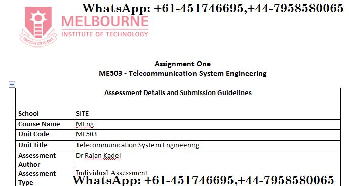 ME503 Telecommunication System Engineering