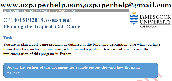 CP1401 SP12018 Assessment1 Planning the Tropical Golf Game