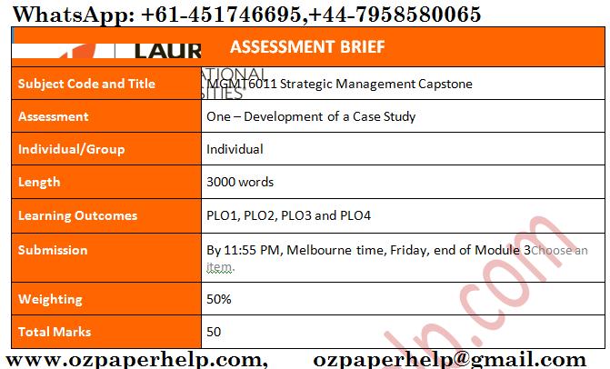 MGMT6011 Strategic Management Capstone